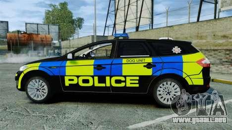 Ford Mondeo Estate Police Dog Unit [ELS] para GTA 4 left