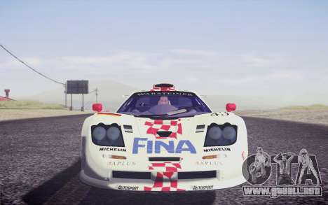 McLaren F1 GTR Longtail 22R para GTA San Andreas interior