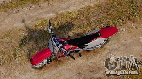 Kawasaki KX250F (Honda) para GTA 4 visión correcta