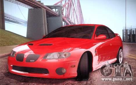 Pontiac GTO 2005 para GTA San Andreas vista posterior izquierda