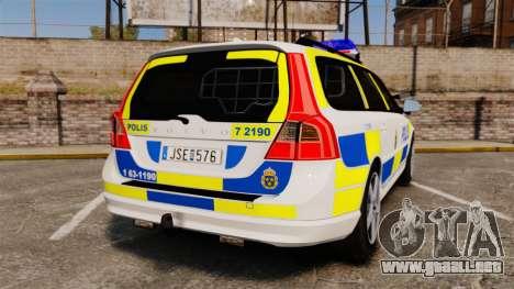 Volvo V70 II Swedish Police [ELS] para GTA 4 Vista posterior izquierda
