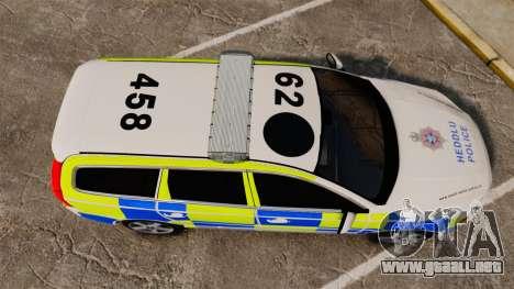 Volvo V70 South Wales Police [ELS] para GTA 4 visión correcta