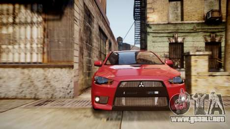 Mitsubishi Lancer Evolution X 2009 v1.3 para GTA 4 visión correcta