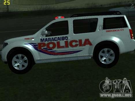 Nissan Pathfinder Polimaracaibo para GTA San Andreas vista hacia atrás