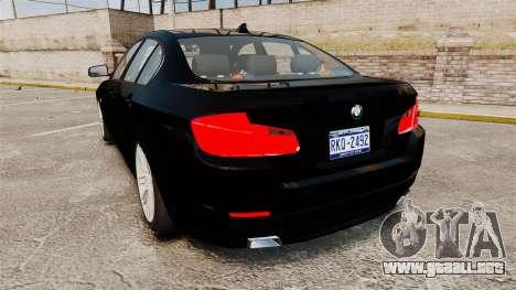 BMW M5 F10 2012 Unmarked Police [ELS] para GTA 4 Vista posterior izquierda