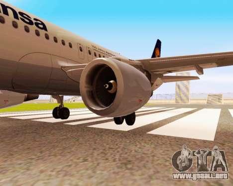 Airbus A320-200 Lufthansa para GTA San Andreas vista posterior izquierda