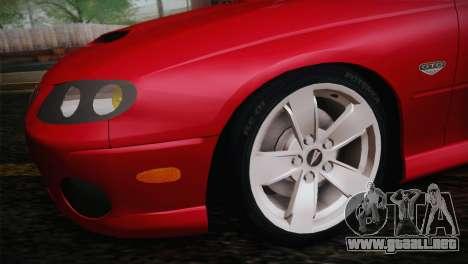 Pontiac GTO 2005 para la visión correcta GTA San Andreas