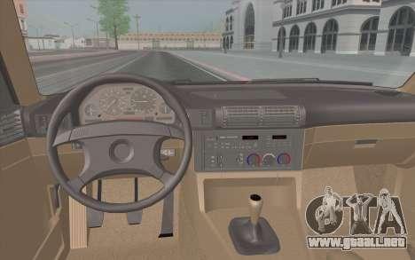 BMW M5 E34 1991 NA-spec para visión interna GTA San Andreas