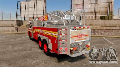 Ferrara 100 Aerial Ladder FDNY [working ladder] para GTA 4 Vista posterior izquierda