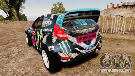 Ford Fiesta RS [Hoonigan] para GTA 4 Vista posterior izquierda
