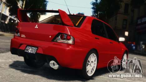 Mitsubishi Lancer Evolution IX para GTA 4 vista hacia atrás