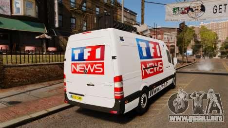 Mercedes-Benz Sprinter TF1 News [ELS] para GTA 4 Vista posterior izquierda
