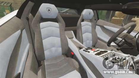 Lamborghini Aventador LP700-4 2012 Adidas Carbon para GTA 4 vista interior