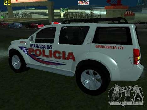 Nissan Pathfinder Polimaracaibo para GTA San Andreas vista posterior izquierda