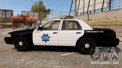 Ford Crown Victoria San Francisco Police [ELS] para GTA 4 left