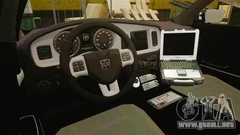 Dodge Charger 2013 Liberty City Police [ELS] para GTA 4 vista hacia atrás