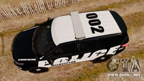 Ford Explorer 2013 Police Interceptor [ELS] para GTA 4 visión correcta