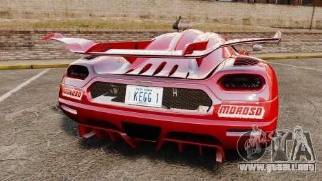 Koenigsegg One:1 para GTA 4 Vista posterior izquierda