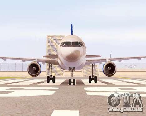 Airbus A320-200 Donbassaero para GTA San Andreas vista hacia atrás