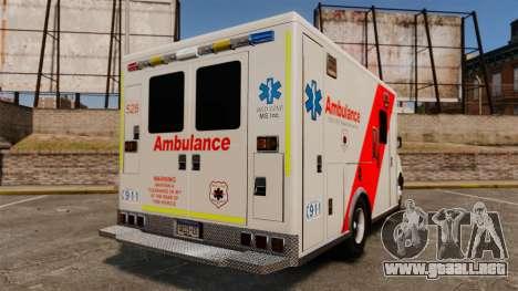 Brute Speedo RLMS Ambulance [ELS] para GTA 4 Vista posterior izquierda