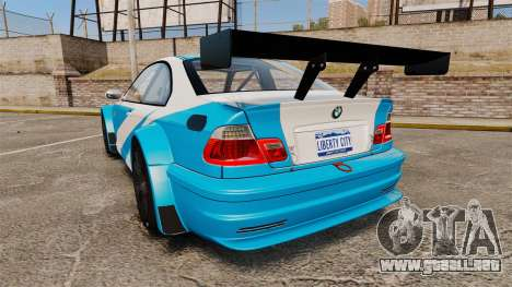 BMW M3 GTR 2012 Most Wanted v1.1 para GTA 4 Vista posterior izquierda