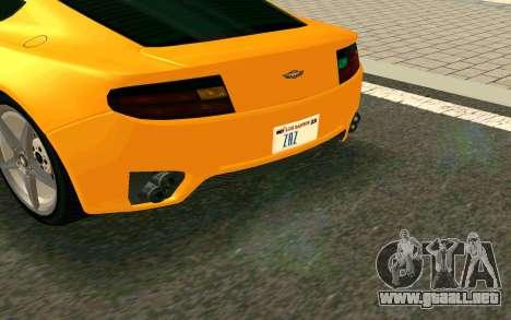 GTA V Dewbauchee Rapid GT Coupe para GTA San Andreas vista posterior izquierda
