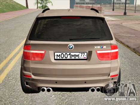 BMW X5M E70 2010 para GTA San Andreas vista hacia atrás