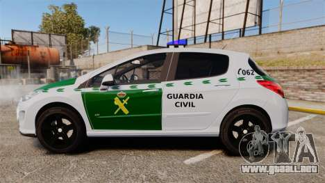 Peugeot 308 GTi 2011 Guardia Civil para GTA 4 left