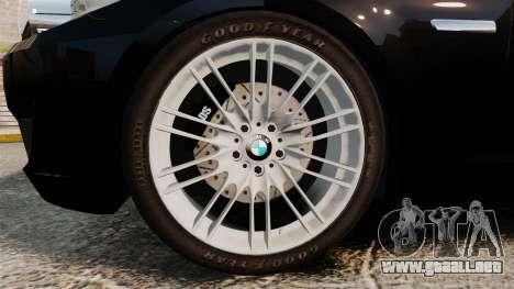 BMW M5 F10 2012 Unmarked Police [ELS] para GTA 4 vista hacia atrás