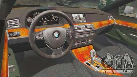 BMW M5 F10 2012 Unmarked Police [ELS] para GTA 4 vista interior