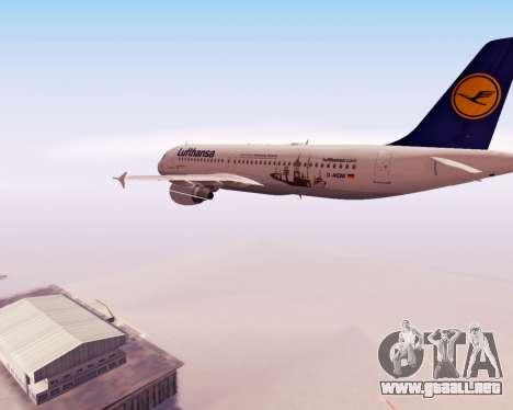 Airbus A320-200 Lufthansa para la vista superior GTA San Andreas