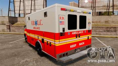 Brute Speedo FDLC Ambulance [ELS] para GTA 4 Vista posterior izquierda
