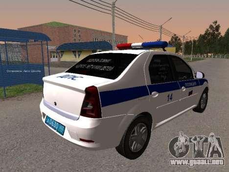 Renault Logan ДПС para GTA San Andreas vista posterior izquierda