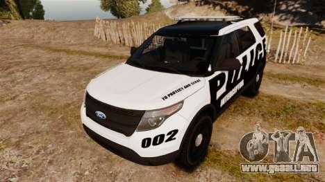 Ford Explorer 2013 Police Interceptor [ELS] para GTA 4 vista hacia atrás