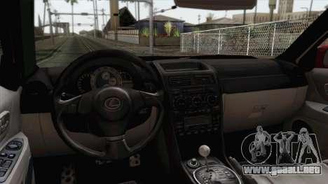 Lexus IS300 Tuning para la visión correcta GTA San Andreas