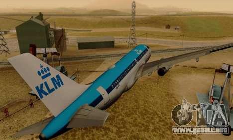 Airbus A319 KLM para la visión correcta GTA San Andreas