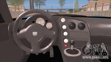 Dodge Viper SRT 10 ACR Police Car para visión interna GTA San Andreas
