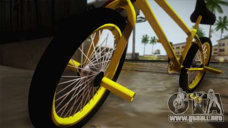 New BMX Yellow para GTA San Andreas vista posterior izquierda