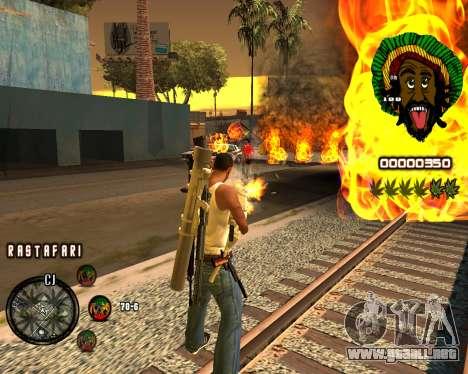 C-HUD Rastafari para GTA San Andreas segunda pantalla