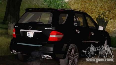 Mercedes-Benz ML63 para GTA San Andreas vista posterior izquierda