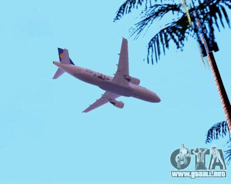 Airbus A320-200 Lufthansa para vista inferior GTA San Andreas
