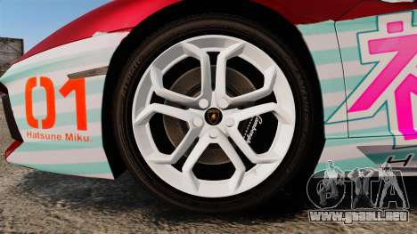 Lamborghini Aventador LP700-4 2012 [EPM] Miku 2 para GTA 4 vista hacia atrás