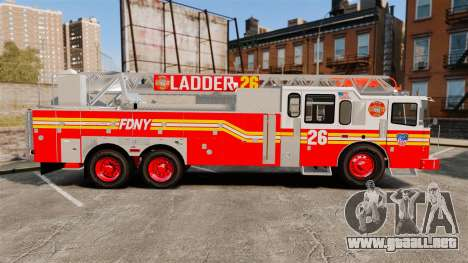 Ferrara 100 Aerial Ladder FDNY [working ladder] para GTA 4 left