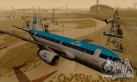 Airbus A319 KLM para GTA San Andreas vista posterior izquierda
