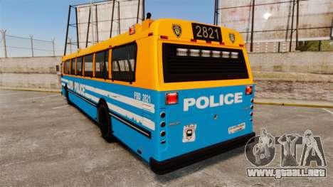 Brute Bus LCPD [ELS] v2.0 para GTA 4 Vista posterior izquierda