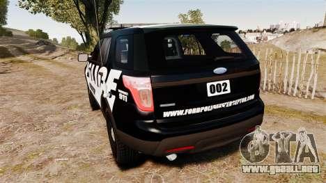 Ford Explorer 2013 Police Interceptor [ELS] para GTA 4 Vista posterior izquierda