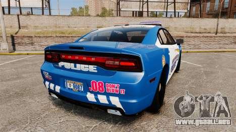 Dodge Charger 2013 Liberty County Police [ELS] para GTA 4 Vista posterior izquierda