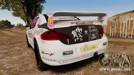 Peugeot 307 WRC The Idolmaster Cinderella Girls para GTA 4 Vista posterior izquierda