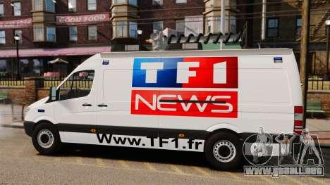 Mercedes-Benz Sprinter TF1 News [ELS] para GTA 4 left