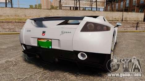 GTA Spano para GTA 4 Vista posterior izquierda